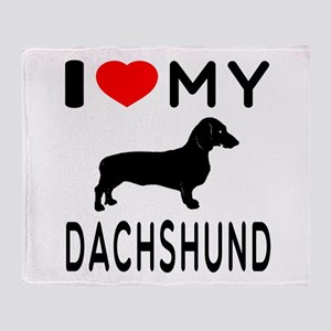 I Love My Dachshund Throw Blanket