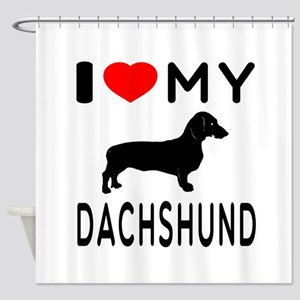 I Love My Dachshund Shower Curtain