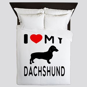 I Love My Dachshund Queen Duvet