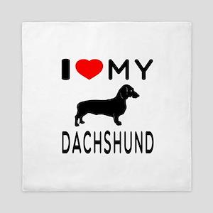 I Love My Dachshund Queen Duvet