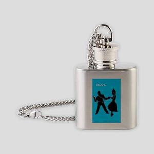 iDance_BlueBG_MiniPoster Flask Necklace
