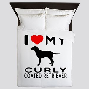 I Love My Curly-Coated Retriever Queen Duvet