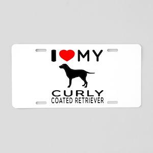 I Love My Curly-Coated Retriever Aluminum License