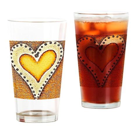 BFB Shimmering Heart Yellow&Dark Ta Drinking Glass