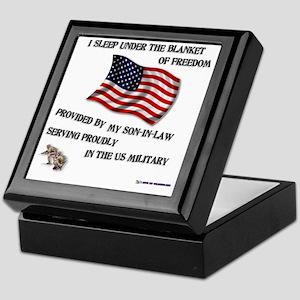 2-blanket of freedom son in law Keepsake Box