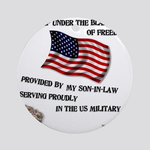 2-blanket of freedom son in law Round Ornament