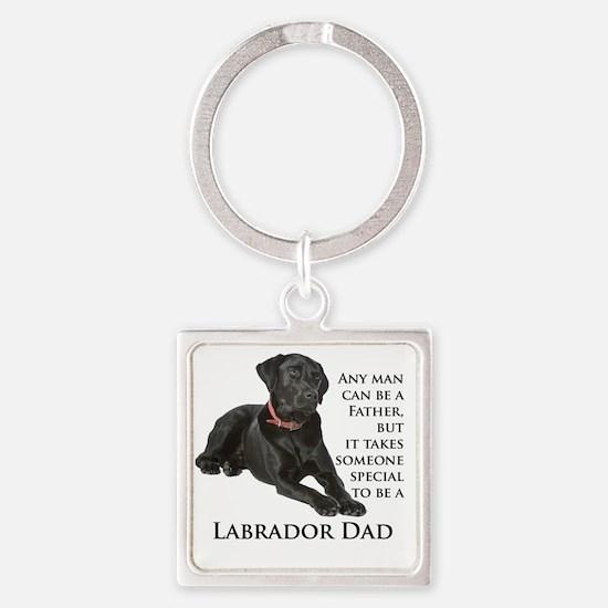 Black Lab Dad Square Keychain