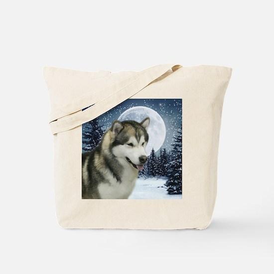 WinterMalamuteTile Tote Bag