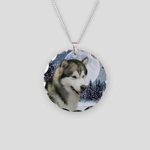 WinterMalamuteTile Necklace Circle Charm