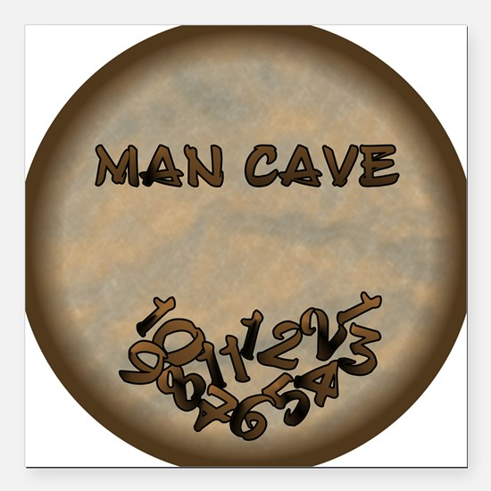 "Man Cave Fallen Numbers Square Car Magnet 3"" x 3"""