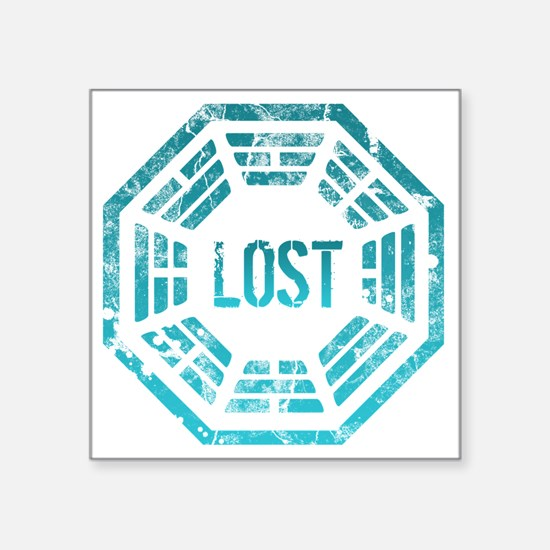 "Lost Dharma Blue Square Sticker 3"" x 3"""