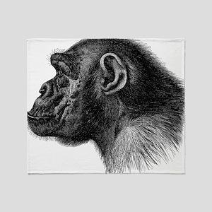 Chimp Profile Throw Blanket