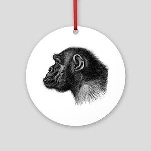 Chimp Profile Round Ornament