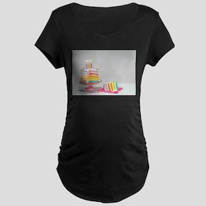 rainbow birthday cake Maternity T-Shirt