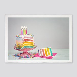 rainbow birthday cake 5'x7'Area Rug
