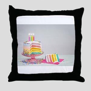 rainbow birthday cake Throw Pillow