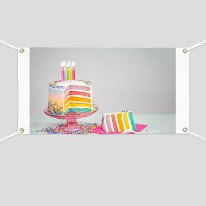 Rainbow Birthday Cake Banner