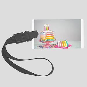 rainbow birthday cake Large Luggage Tag