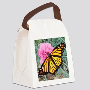 Monarch Butterfly, Pink Carnation Canvas Lunch Bag