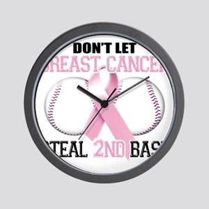 Dont Let Breast Cancer Steal 2nd Base Wall Clock