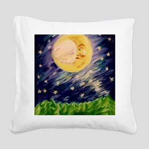 Night Moon Square Canvas Pillow