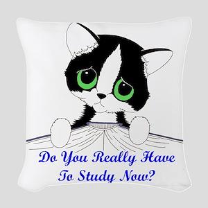 studynowcat Woven Throw Pillow