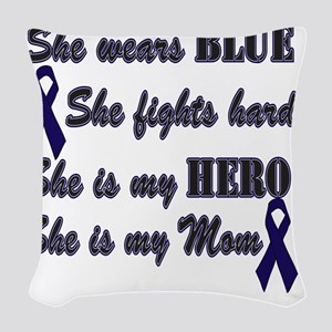 She is Mom Blue Hero Woven Throw Pillow