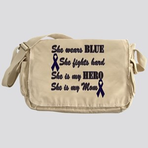 She is Mom Blue Hero Messenger Bag