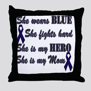 She is Mom Blue Hero Throw Pillow