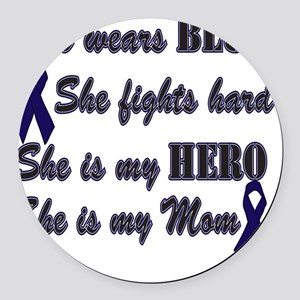 She is Mom Blue Hero Round Car Magnet