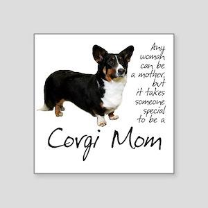 """Corgi Mom Square Sticker 3"""" x 3"""""""