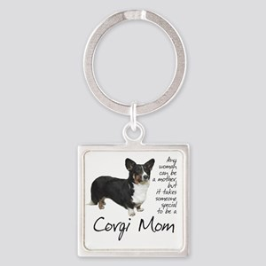 Corgi Mom Square Keychain