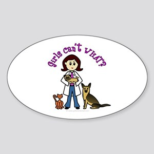 Light Veterinarian Oval Sticker