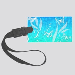 blue_butterfly_batik Large Luggage Tag
