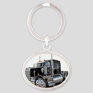 Kenworth w900 Black Truck Oval Keychain