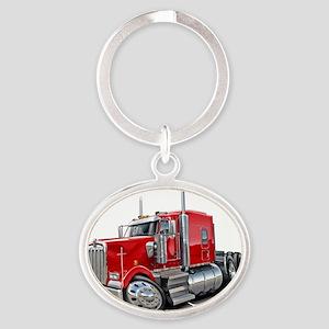 Kenworth w900 Red Truck Oval Keychain