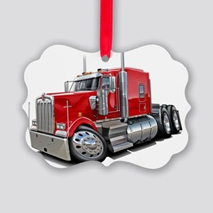 Kenworth w900 Red Truck Picture Ornament