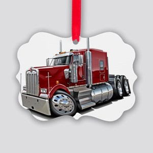 Kenworth w900 Maroon Truck Picture Ornament