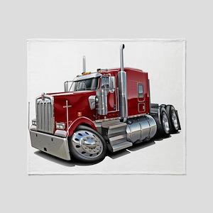 Kenworth w900 Maroon Truck Throw Blanket