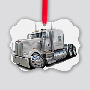 Kenworth w900 White Truck Picture Ornament