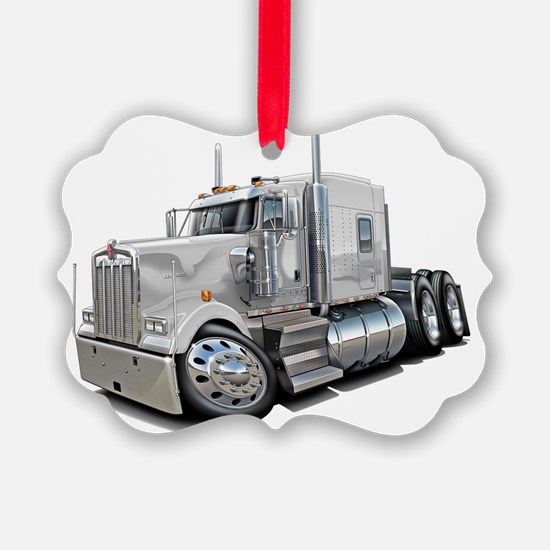 Kenworth w900 White Truck Ornament