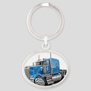 Kenworth w900 Lt Blue Truck Oval Keychain