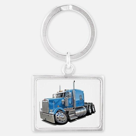 Kenworth w900 Lt Blue Truck Landscape Keychain