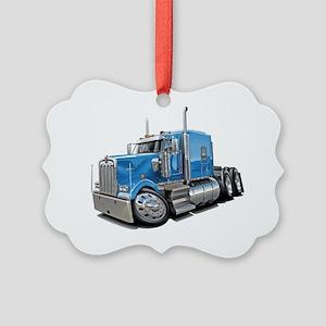 Kenworth w900 Lt Blue Truck Picture Ornament