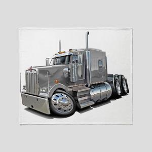 Kenworth w900 Silver Truck Throw Blanket