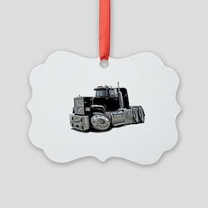 Mack Superliner Black Truck Picture Ornament