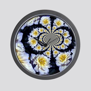 White & Yellow Floral Swirl Wall Clock