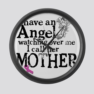 8-mother angel Large Wall Clock