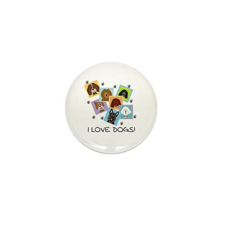 I Love Dogs Mini Button (10 pack)