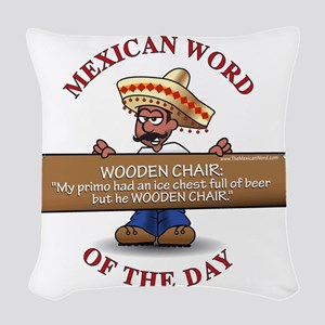 MWOD-WoodenChair Woven Throw Pillow